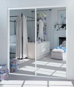 Mirror Sliding Doors White Frame Keystone Aluminum
