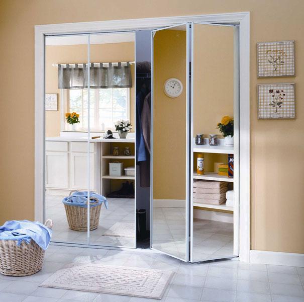 Mirror Closet Doors Bifold White Framed Keystone